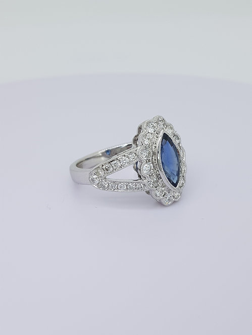 Sapphire and diamond marquee cluster ring.