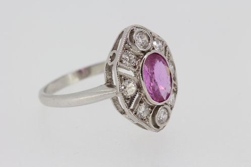 Pink sapphire and diamond deco style ring