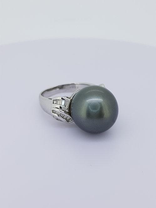 Grey south sea pearl and diamond ring.