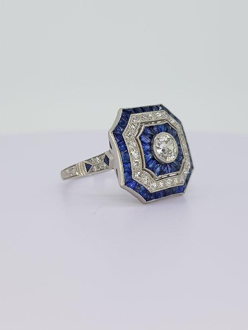 Platinum sapphire and diamond deco style ring