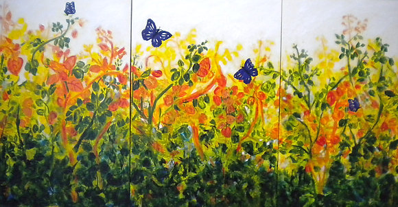 Butterflies are Free triptych - SOLD