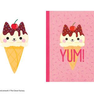 Glitter Cat Ice Cream Notebook