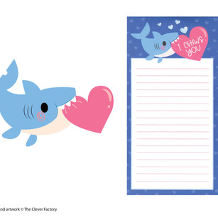 Shark Valentine's Day Magnetic Notebook