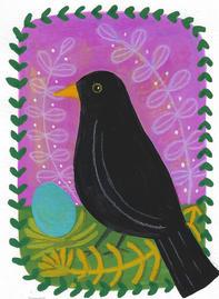Blackbird and blue egg ©