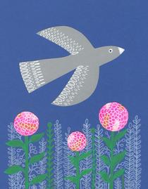 Bird over dahlias ©