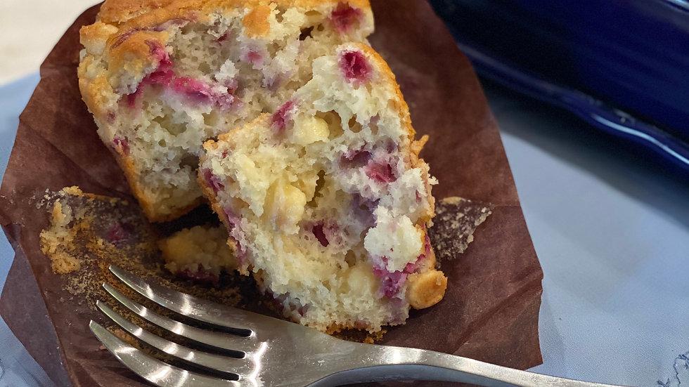 Raspberry white chocolate chip muffin