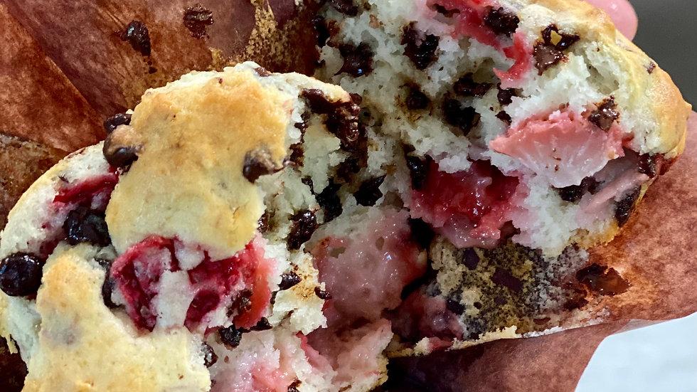 Strawberry chocolate chip muffin