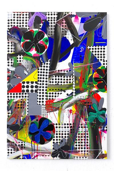 FLOWERS GABBER, 2020, Acrylic, vinyl, pi