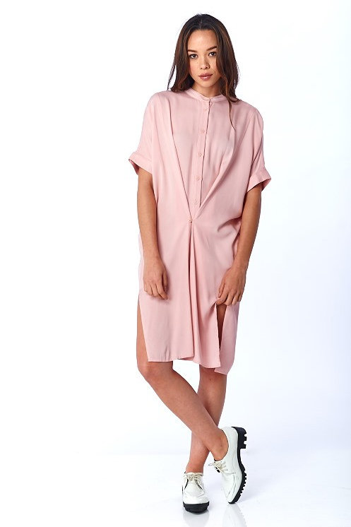 Pink Shift Shirt Dress