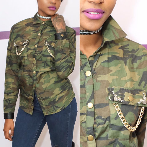 camoflauge leather trim top