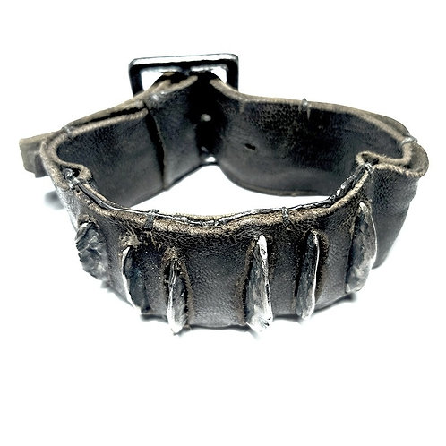 silver and leather bracelet theFins