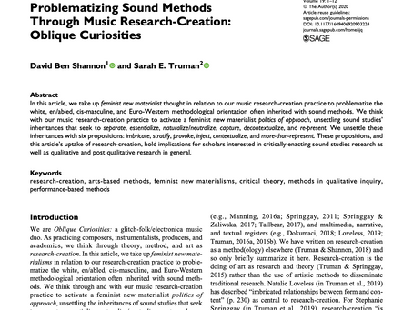 Problematizing Sound Methods Through Music Research-Creation: Oblique Curiosities