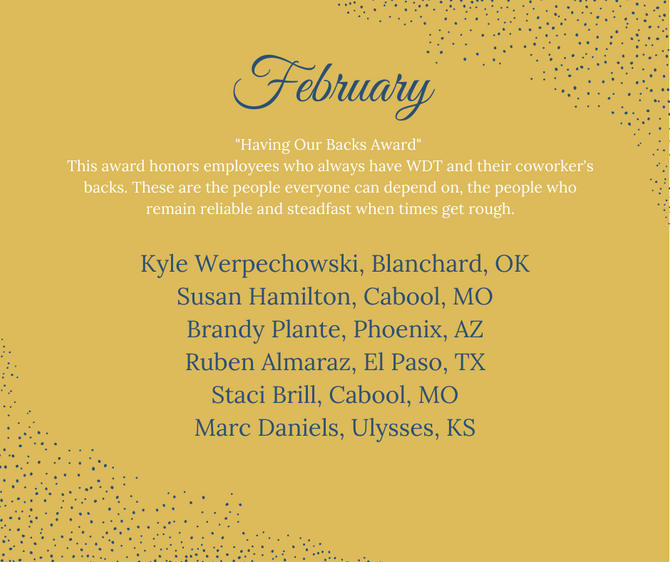 WDT February Employee Recognition