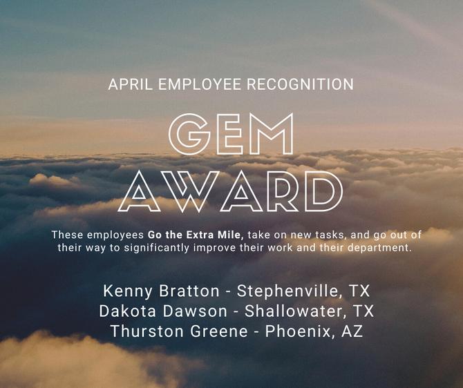 WDT April Employee Recognition