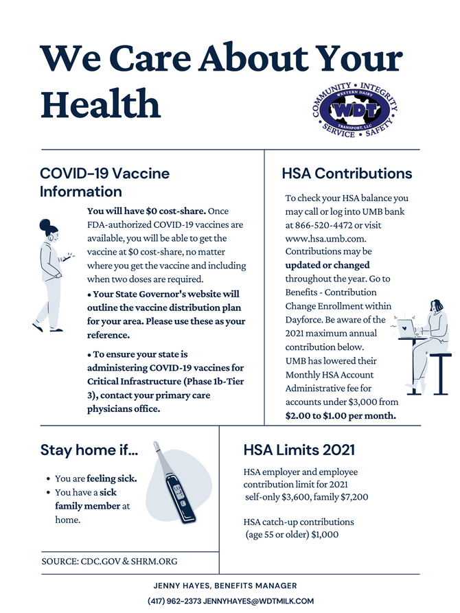 WDT Benefits Department: COVID-19 Vaccine & HSA Information