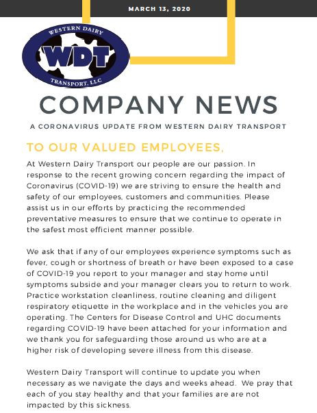A Message to our Employees About COVID-19