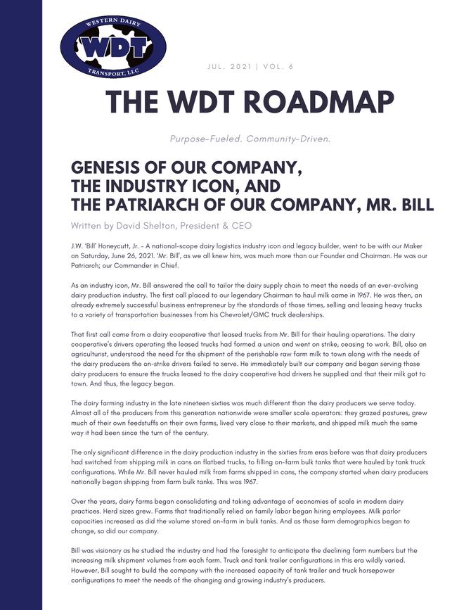 The WDT Roadmap, Vol.6