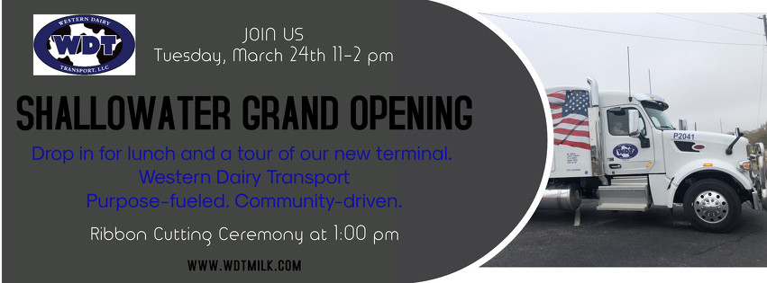 Save the date and join us at our new Shallowater, Texas terminal. We're looking forward to seeing you there!