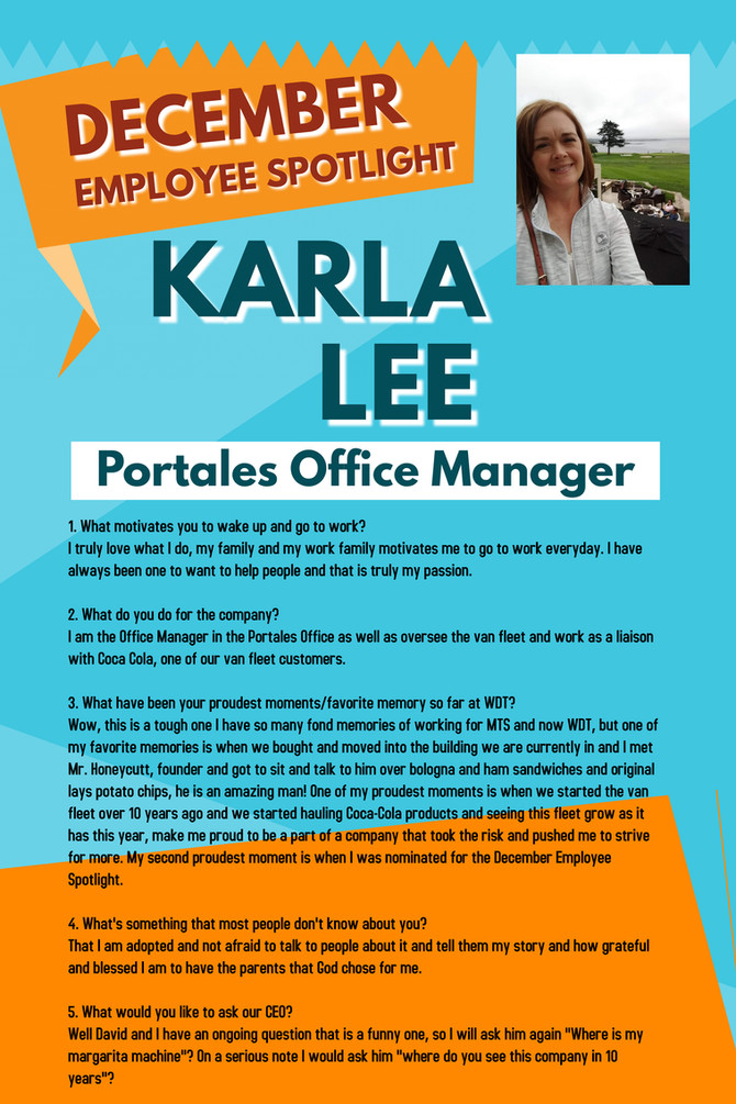December Employee Spotlight, Karla Lee