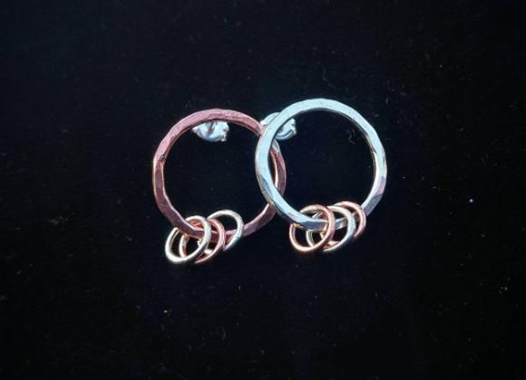 New Moon in Libra - Sterling Silver and Copper Stud Hoop Earrings
