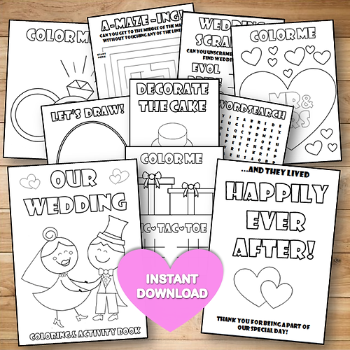 Printable Wedding Coloring Activity Book For Kids