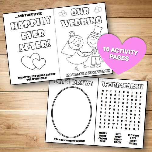 Printable Wedding Colouring Activity Book For Kids