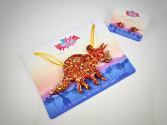 Triceratops Dinosaur Necklace & Earring Bundle SED