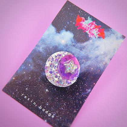 Moon & Star Pin Badge SED