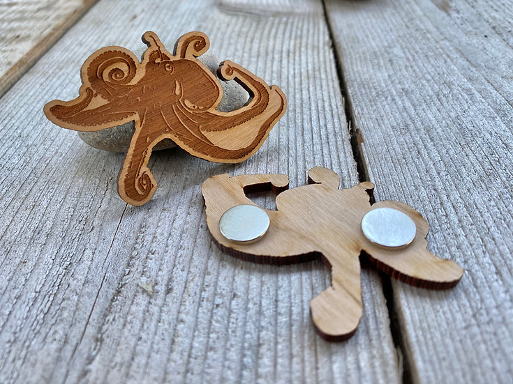 Wood Pacific Octopus Magnet