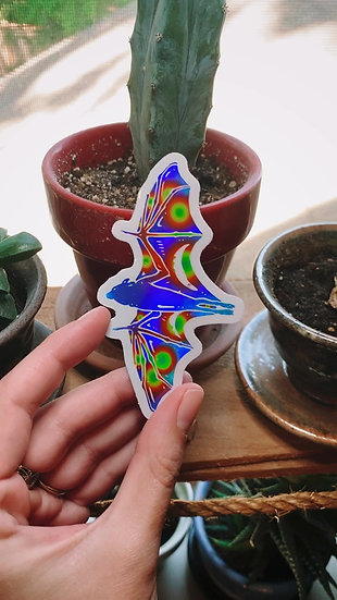 Galaxy Holographic Black Flying Fox Sticker