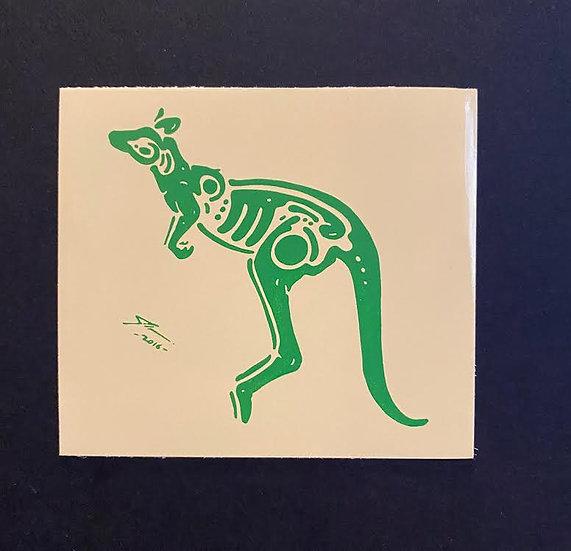Kangaroo hand printed 2 (20 pts)