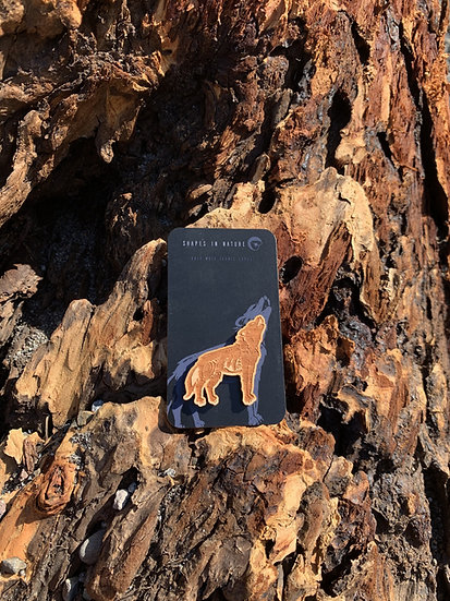 Wooden Wolf Pin