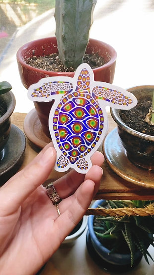 Galaxy Holographic Green Sea Turtle Sticker