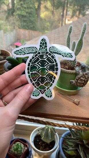 Holographic Sea Turtle Sticker