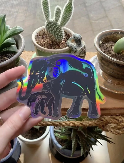 Holographic Asian Elephant w/ Baby Sticker
