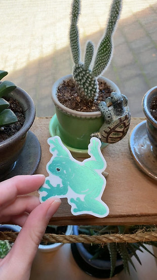 Vaporwave Whites Tree Frog Sticker