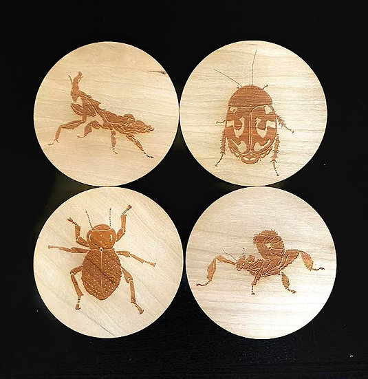 Insect Series 1 Wooden Coasters Set
