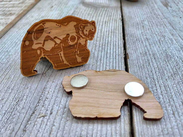 Wood Polar Bear Magnet