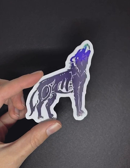 Holographic Timber Wolf Sticker