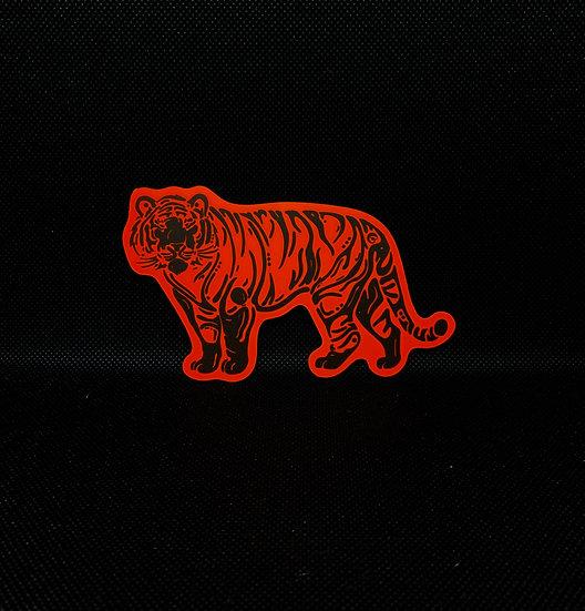 Neon Orange Tiger Sticker