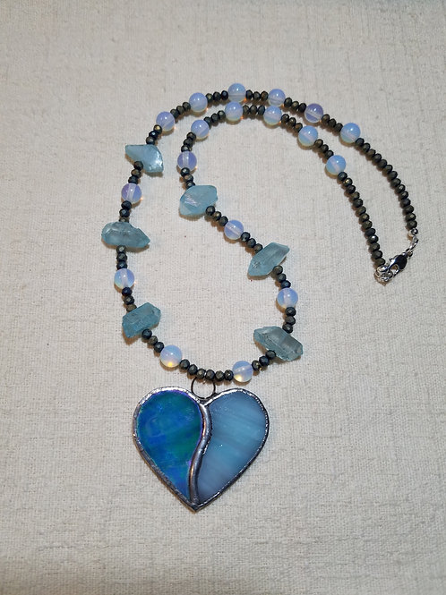Blue Stained Glass Heart Necklace