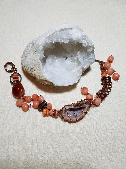 Copper wrapped druzy bracelet