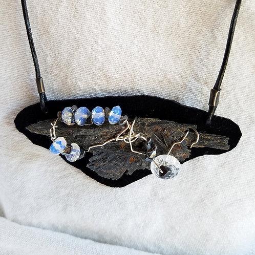 Black Kyanite pendant close up
