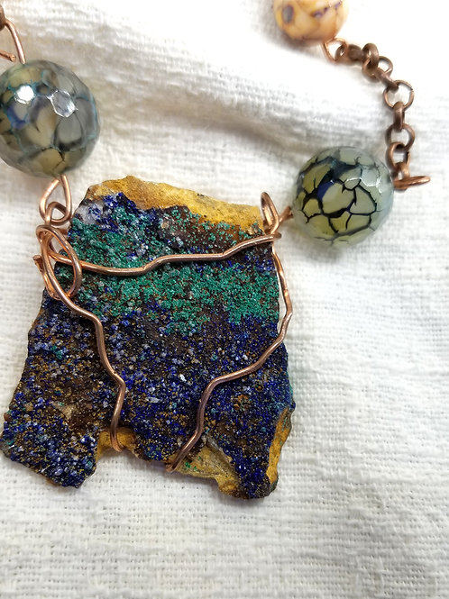 Azurite and fire agate necklace close up