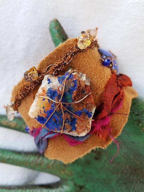 azurite and leather cuff with quartz