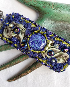 royal blue bead and silk cuff