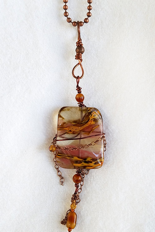 cherry amber and copper necklace