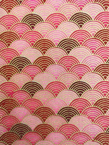 Motif Japonais Rose Rouge