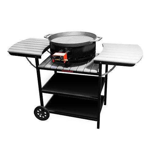 Vasaras virtuve, gāzes deglis D350, paella panna, pelēks