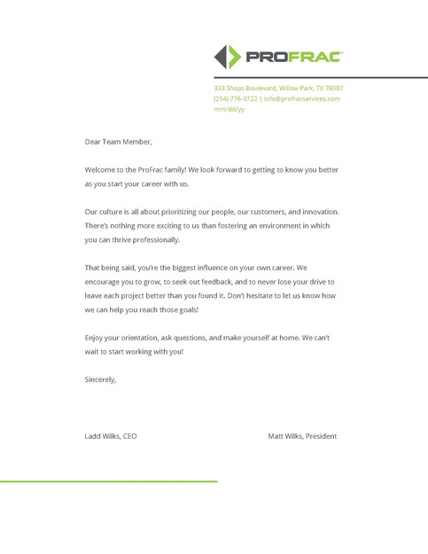 ProFrac Welcome Letter
